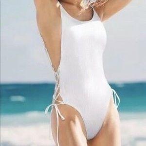 PINK Victoria's Secret Swim - NWT Victoria's Secret Pink White One Piece-Sz S